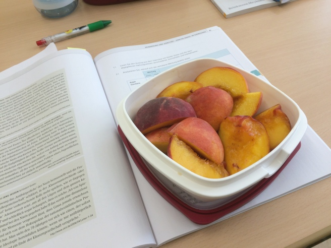 first school snack was three peaches - note: next time I need to take more, I was starving at some point